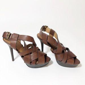 Zara Strappy Cognac Sandals High Heels